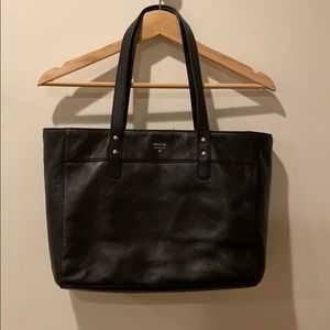 Black leather Fossil tote purse